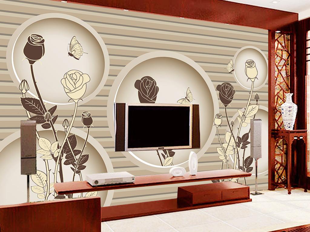 3d圆圈手绘复古黑白玫瑰花电视背景墙