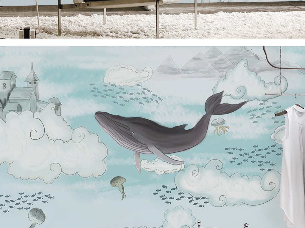 北欧简约素雅时尚原创手绘卡通儿童房背景墙