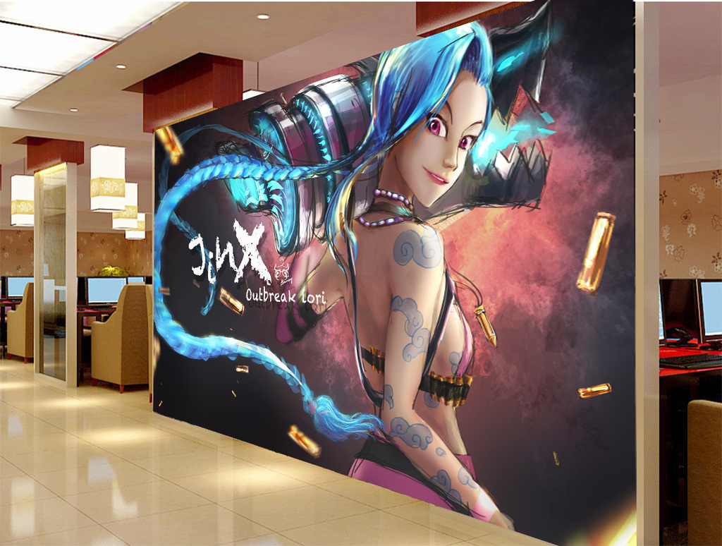 lol英雄联盟萝莉手绘插画工装背景墙