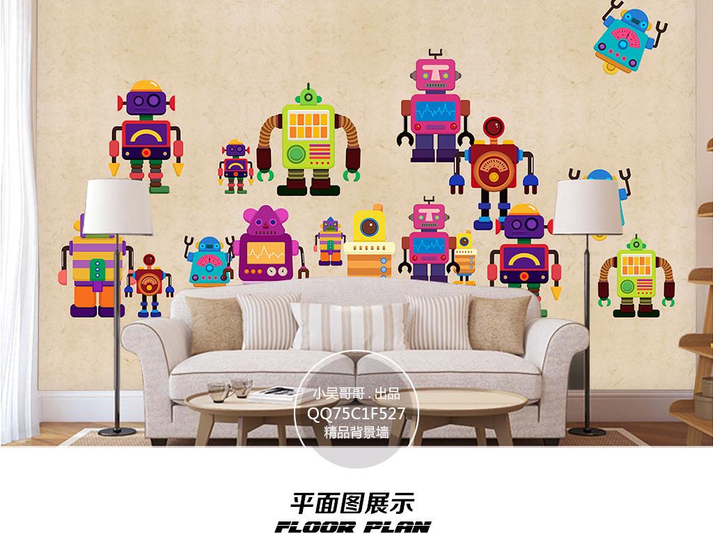 儿童房手绘卡通机器人背景墙装饰画