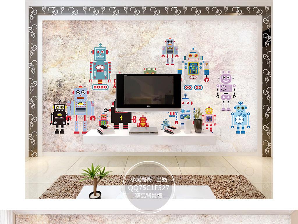 手绘卡通机器人儿童房背景墙壁画