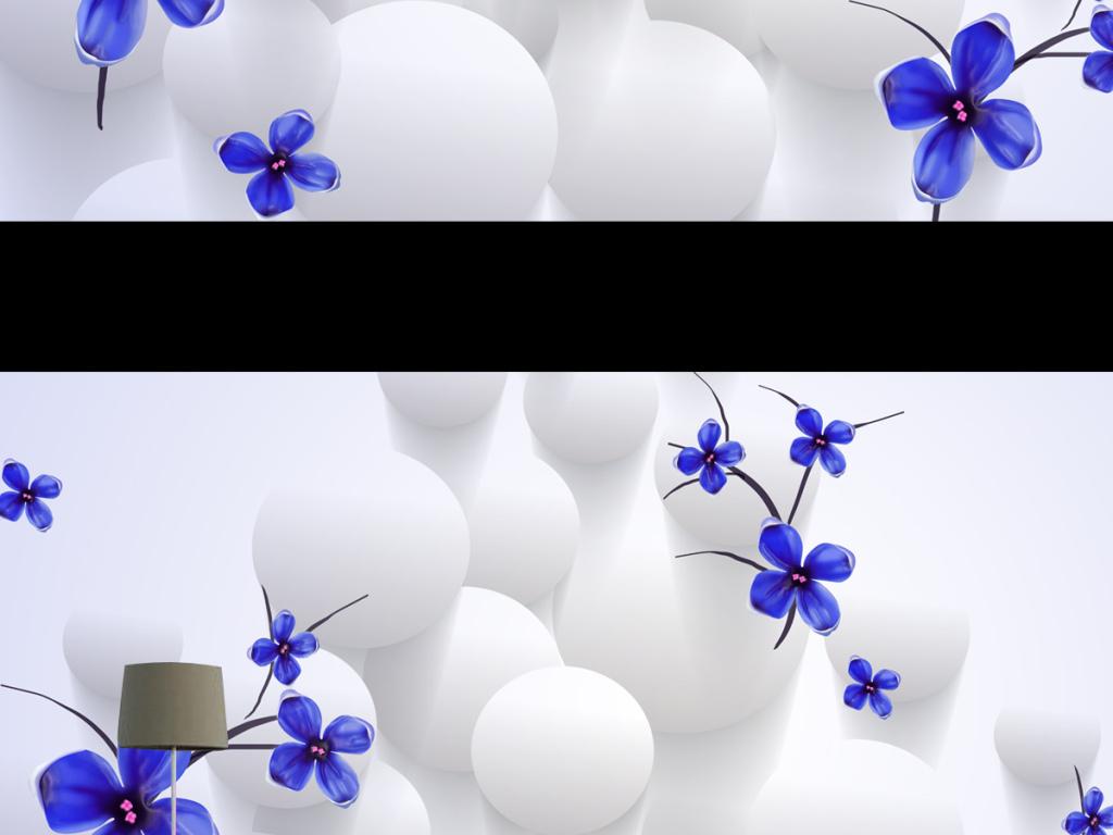 现代简约蓝色花卉3d立体壁画电视背景墙图片设计素材图片