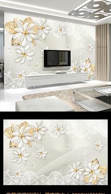 奢华欧式珠宝蕾丝花卉3D电视背景墙