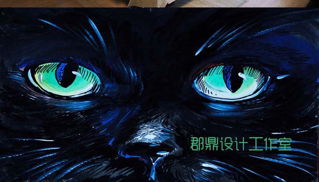 巨幅手绘油画猫脸背景墙壁纸