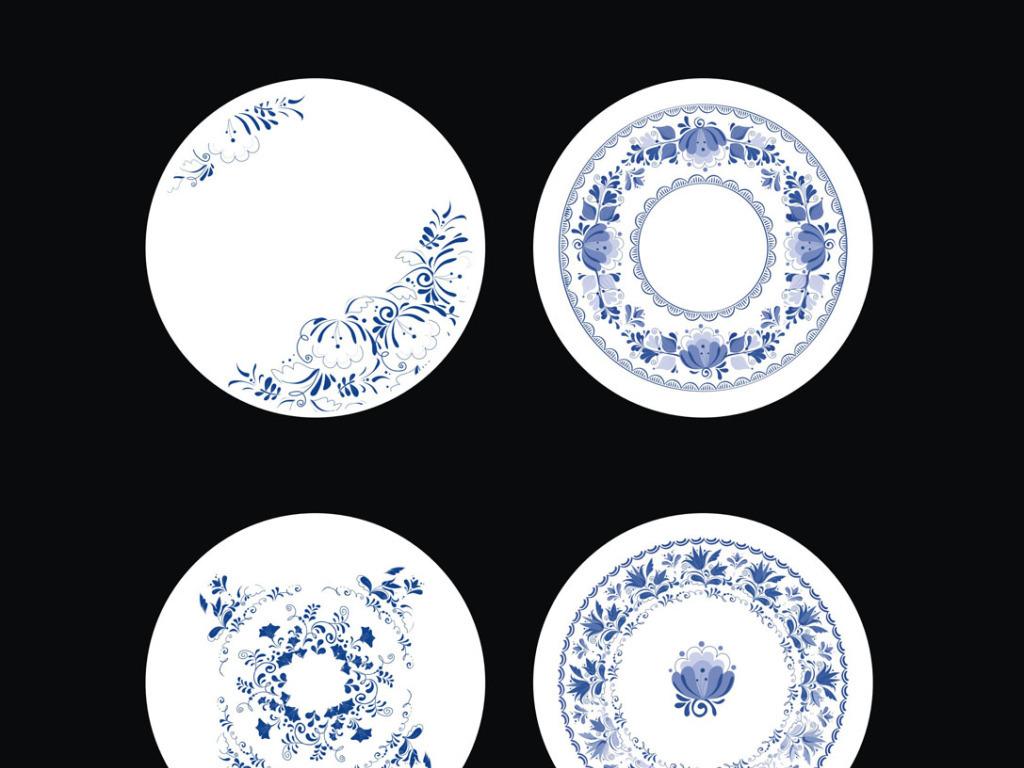 古典青花瓷花纹碟子花纹盘子花型矢量素材