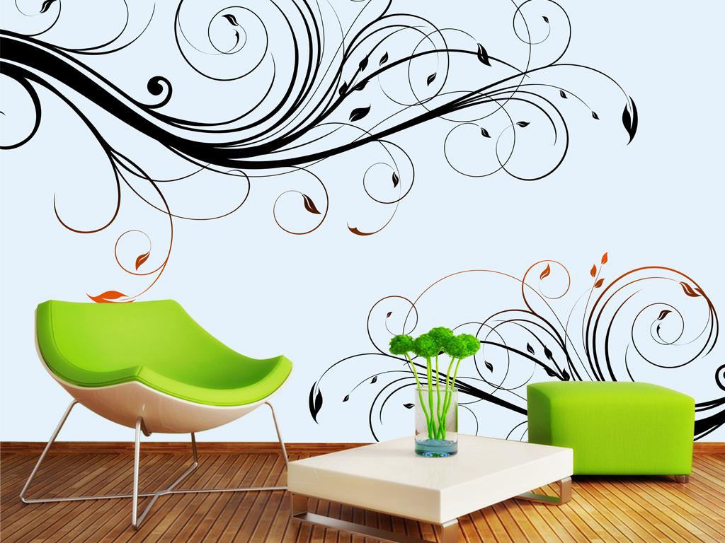 手绘欧式花纹电视背景墙