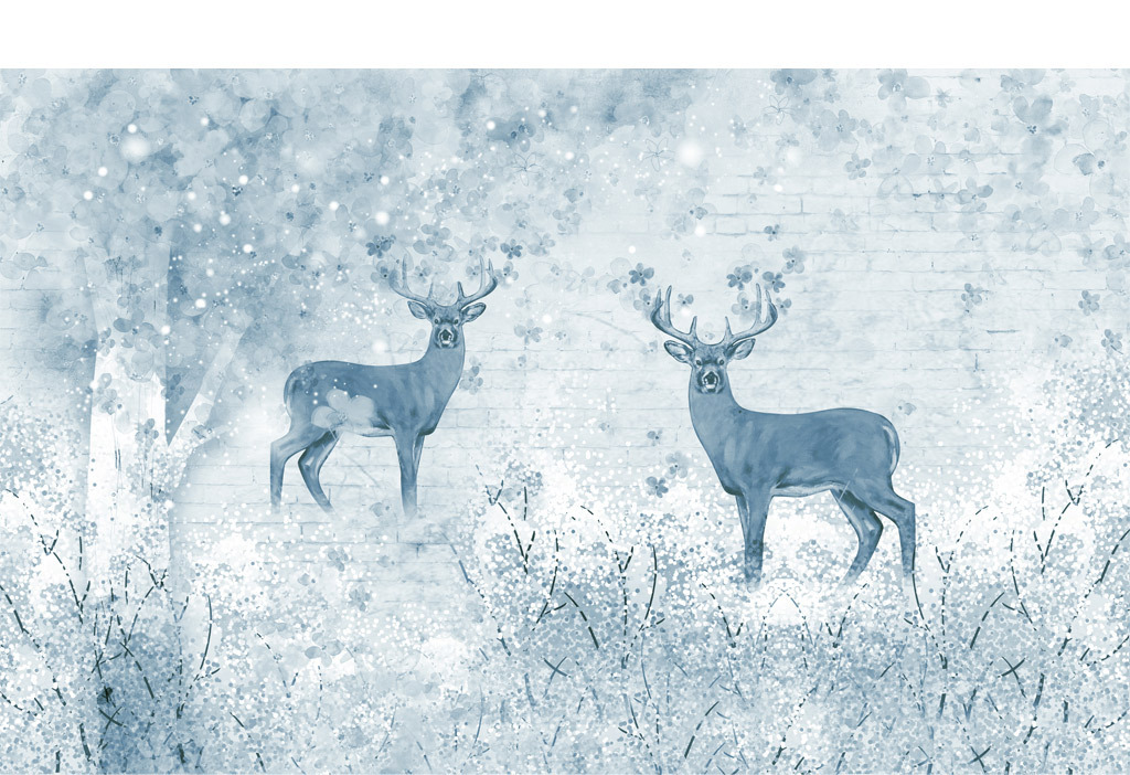 麋鹿森林背景墙复古电视背景墙手绘装饰画