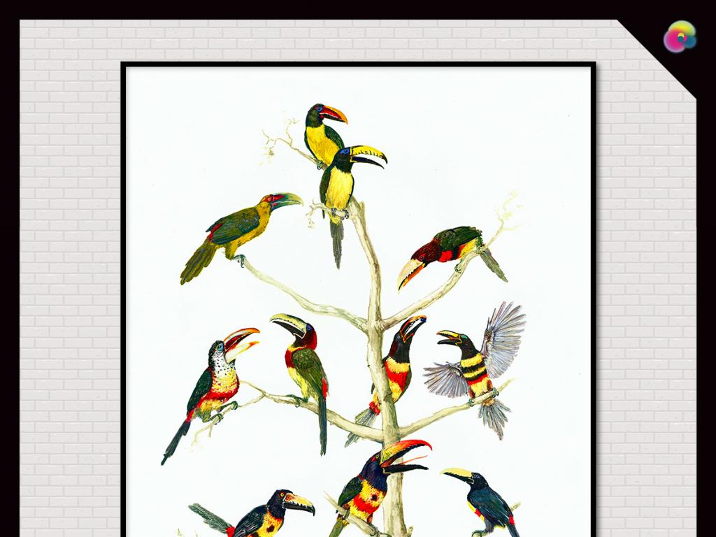 欧式复古高清手绘工笔画花鸟图背景墙装饰画