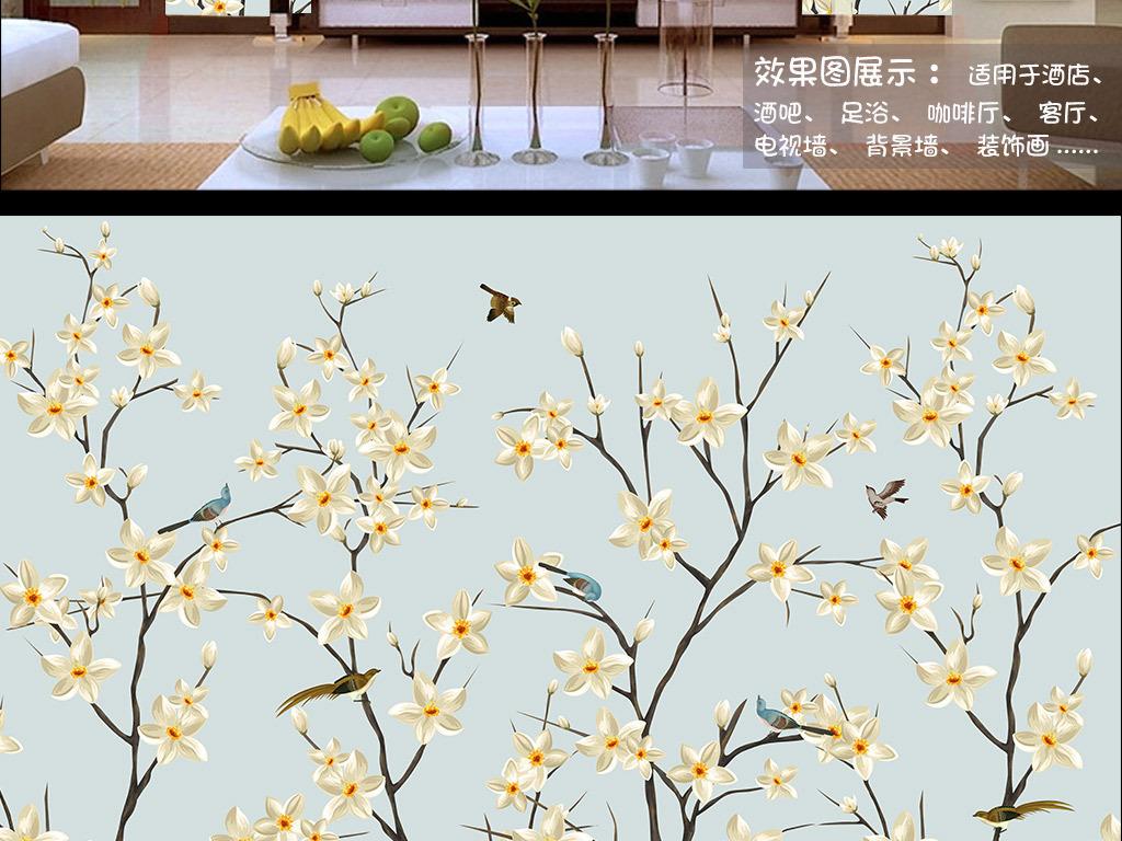 背景墙 墙纸|壁纸 中式墙纸 > 手绘花枝招展花鸟工笔画背景墙装饰画