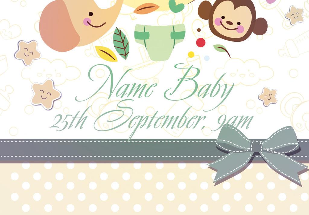 手绘卡通迎婴派对庆生宴会通用创意海报