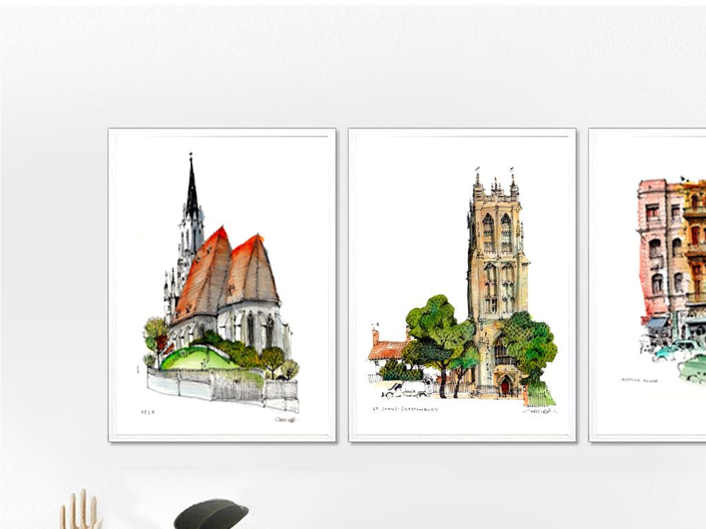 北欧简约风格唯美手绘色彩建筑