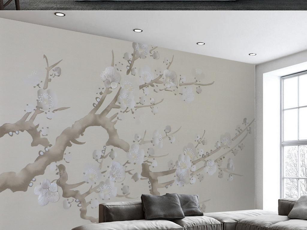 手绘新中式梅花电视背景墙