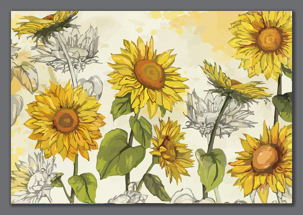 手绘向日葵背景墙