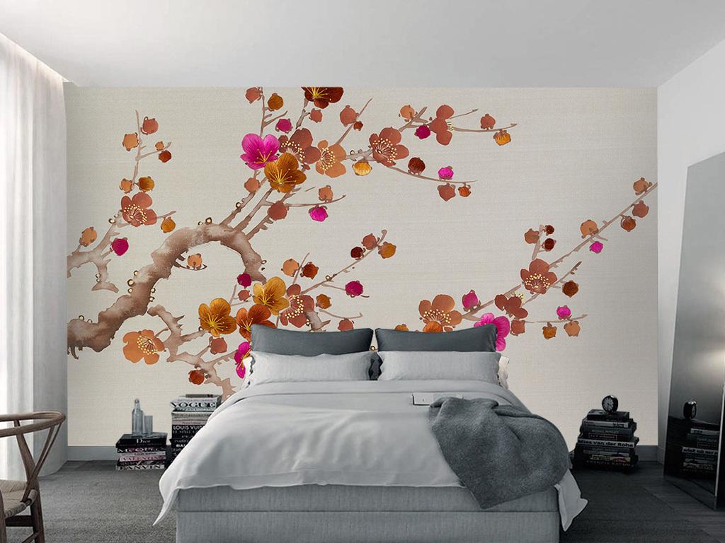 现代新中式彩色梅花电视背景墙