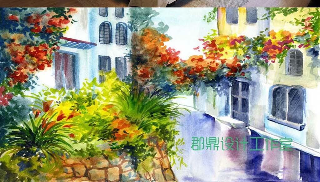 巨幅手绘风景油画背景墙城市建筑街道壁纸图片