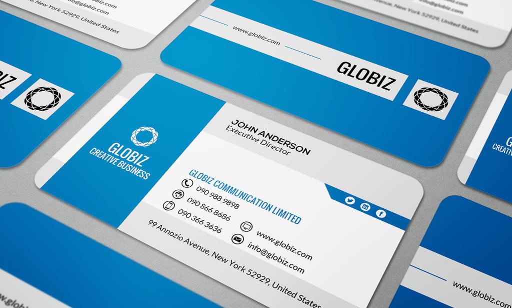 蓝色简约时尚大气科技公司名片设计模板图片