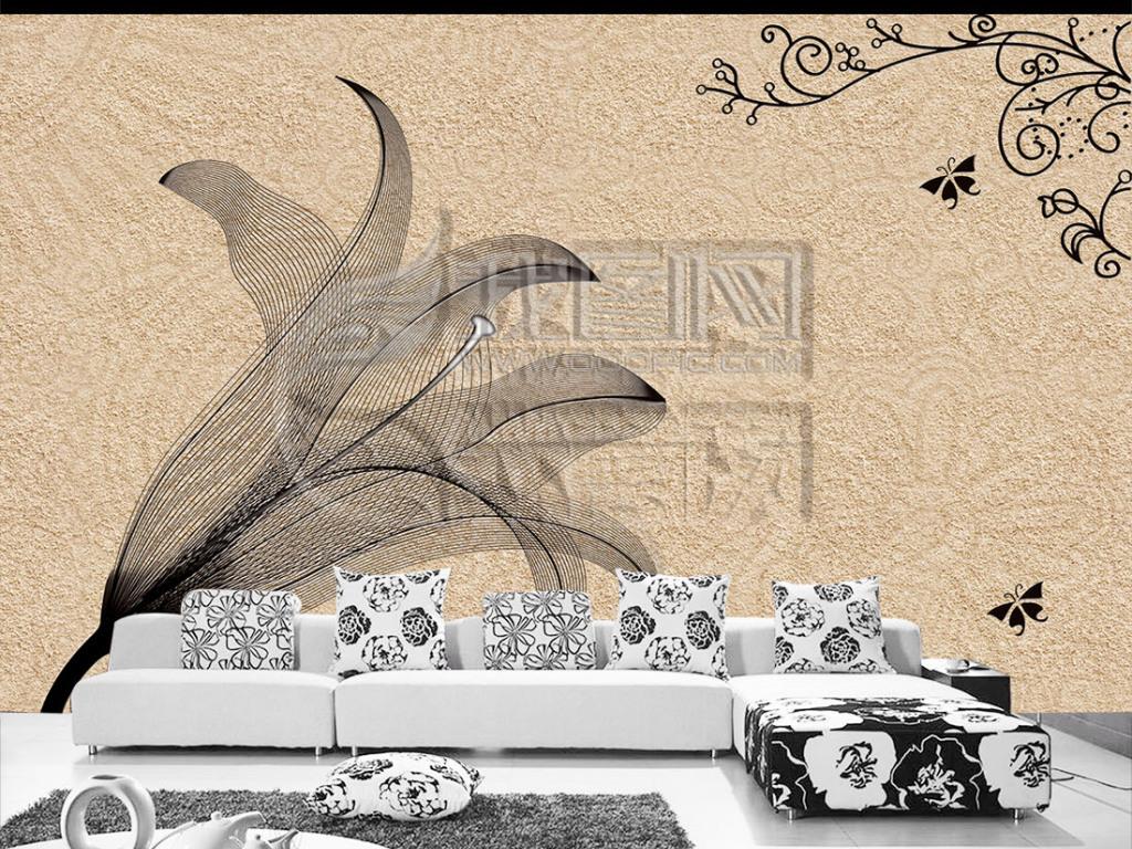 浮雕手绘百合花电视背景墙