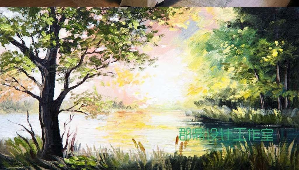 巨幅手绘油画乡村风景森林树木背景墙