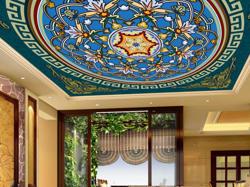 精美欧式花纹客厅大厅卧室吊顶天顶壁画图片