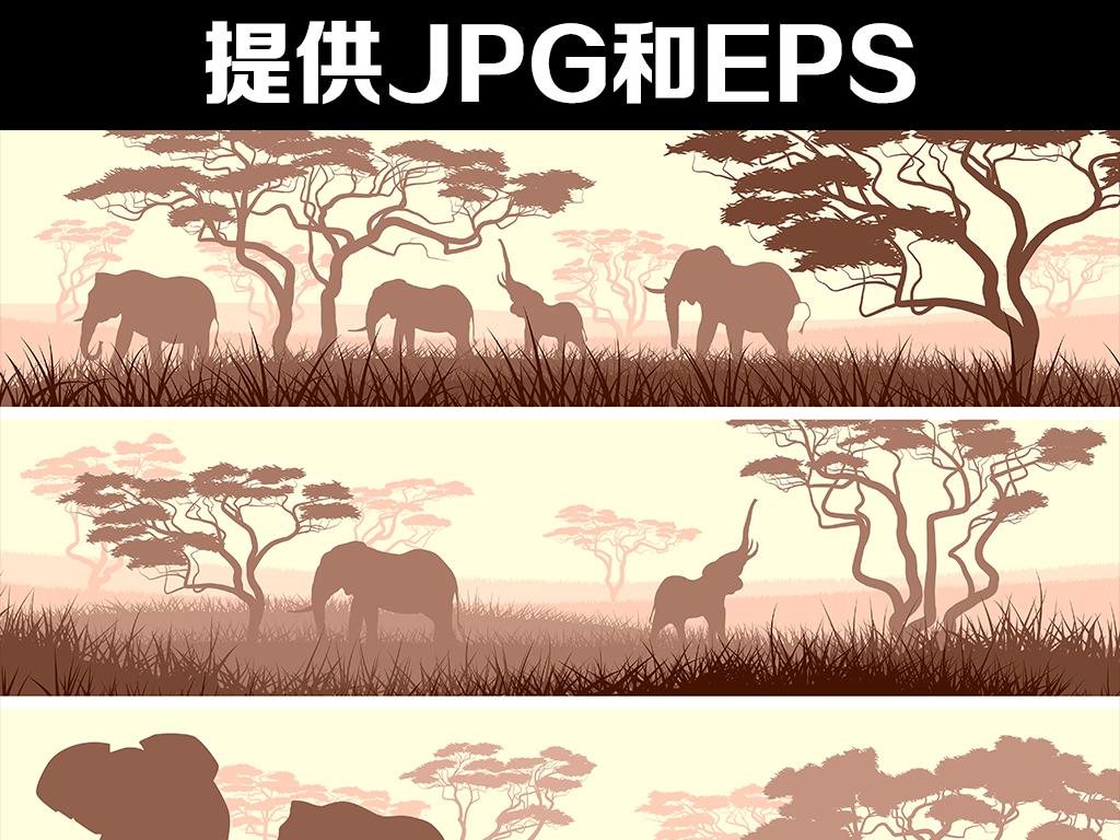 北欧小清新大象的一家森林动物床头装饰画