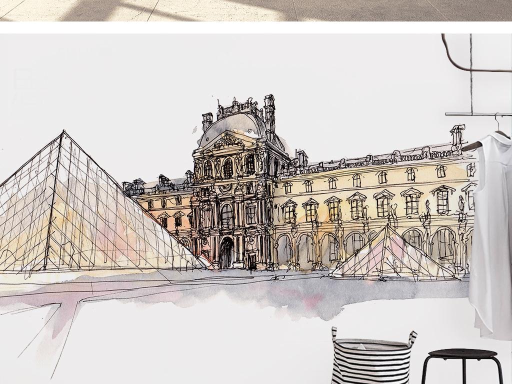 北欧时尚原创手绘金字塔复古建筑背景墙