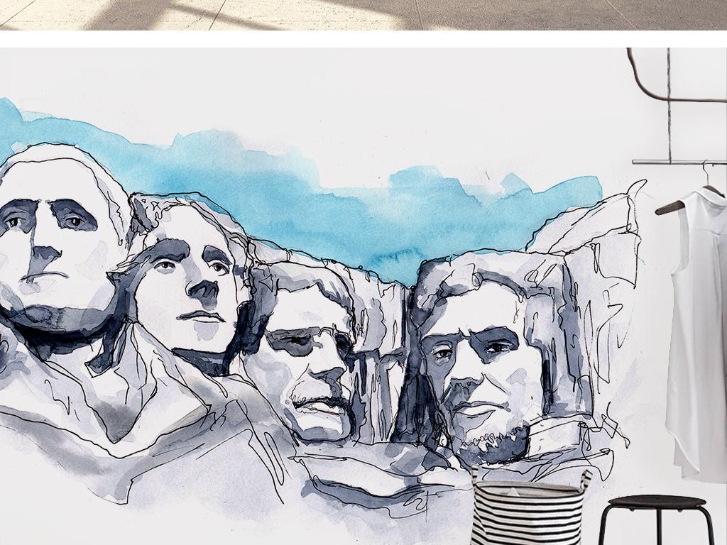 美国总统山素雅手绘抽象背景墙