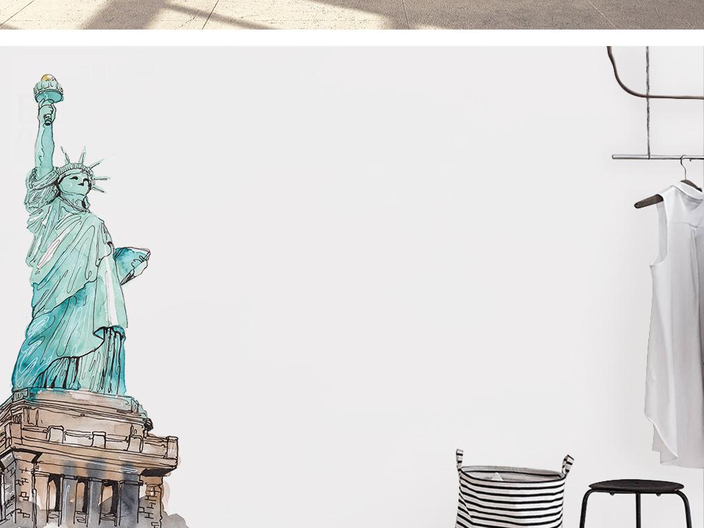 美国自由女神像原创手绘留白标建背景墙