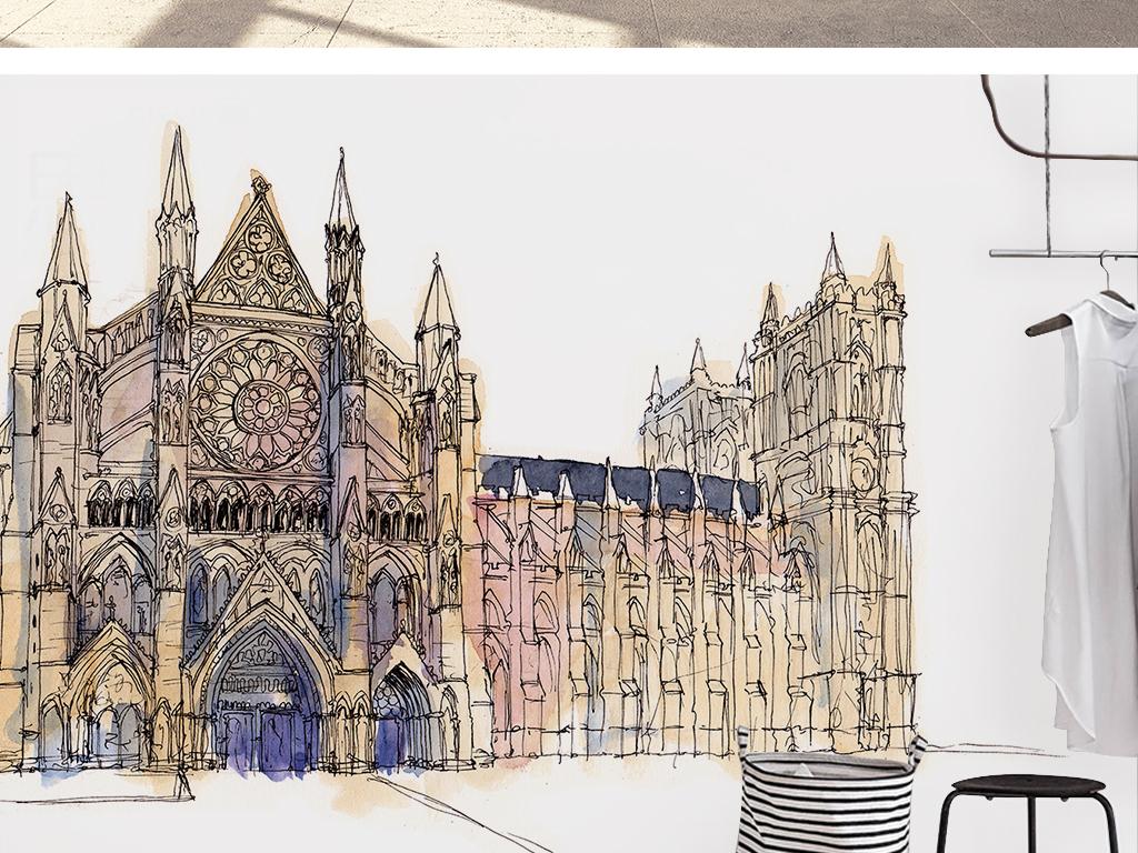 北欧简约时尚手绘英伦建筑大本钟背景墙