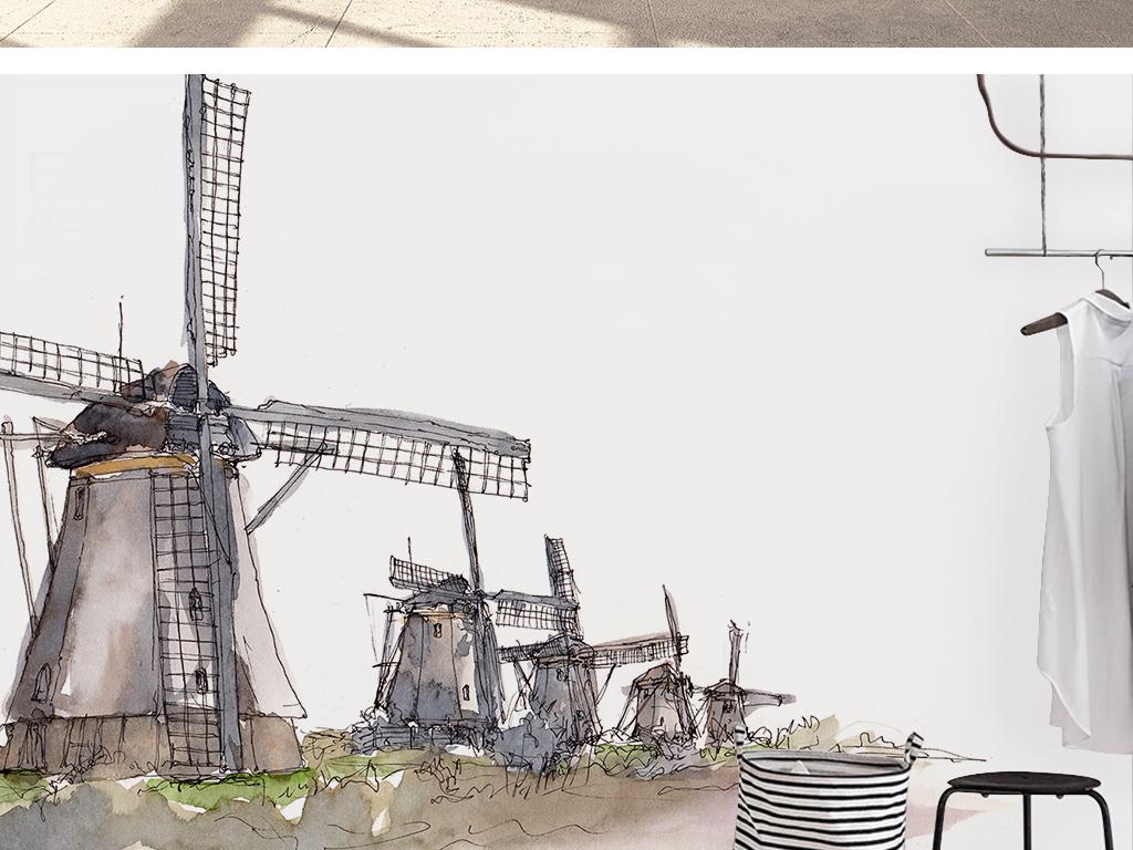 电视背景墙 欧式电视背景墙 > 北欧简约时尚手绘荷兰风车卡通背景墙