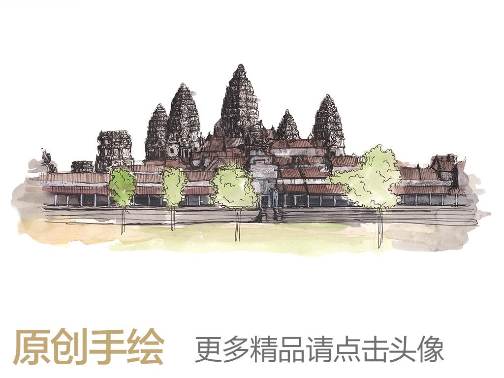 新中式古典手绘建筑房子抽象树木背景墙