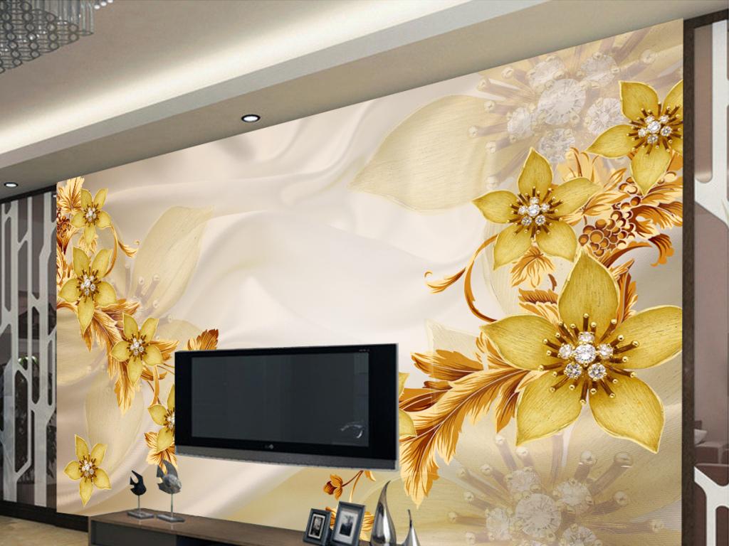 欧式皇家珠宝钻石3d立体电视背景墙