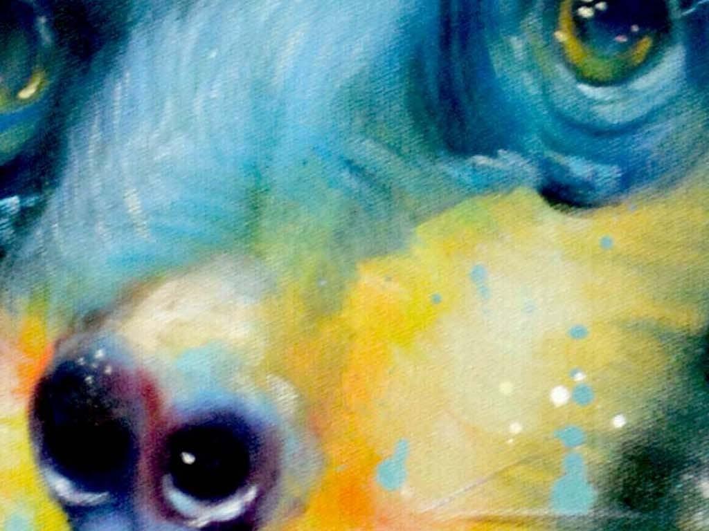 背景墙|装饰画 玄关 油画|立体油画玄关 > 水彩动物头像艺术玄关餐厅