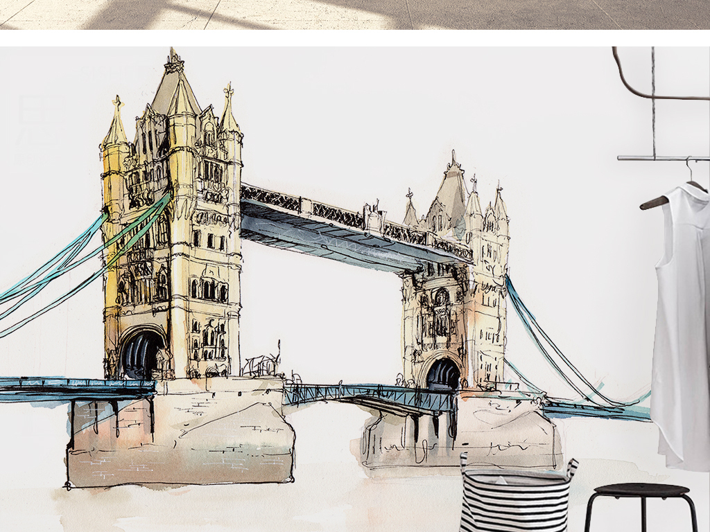北欧简约时尚伦敦塔桥原创手绘风景背景墙