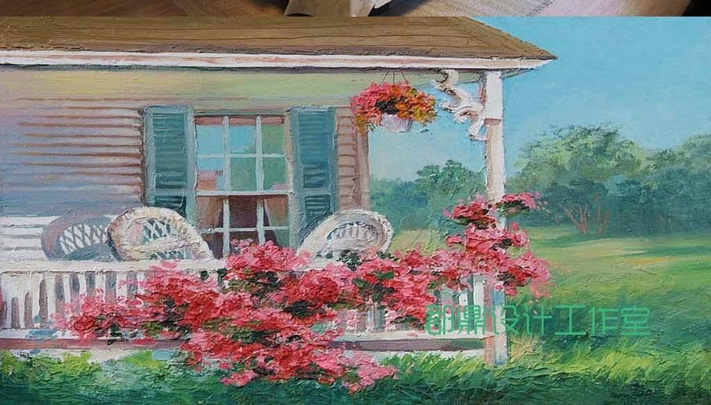 巨幅手绘油画乡村田园风景房子背景墙
