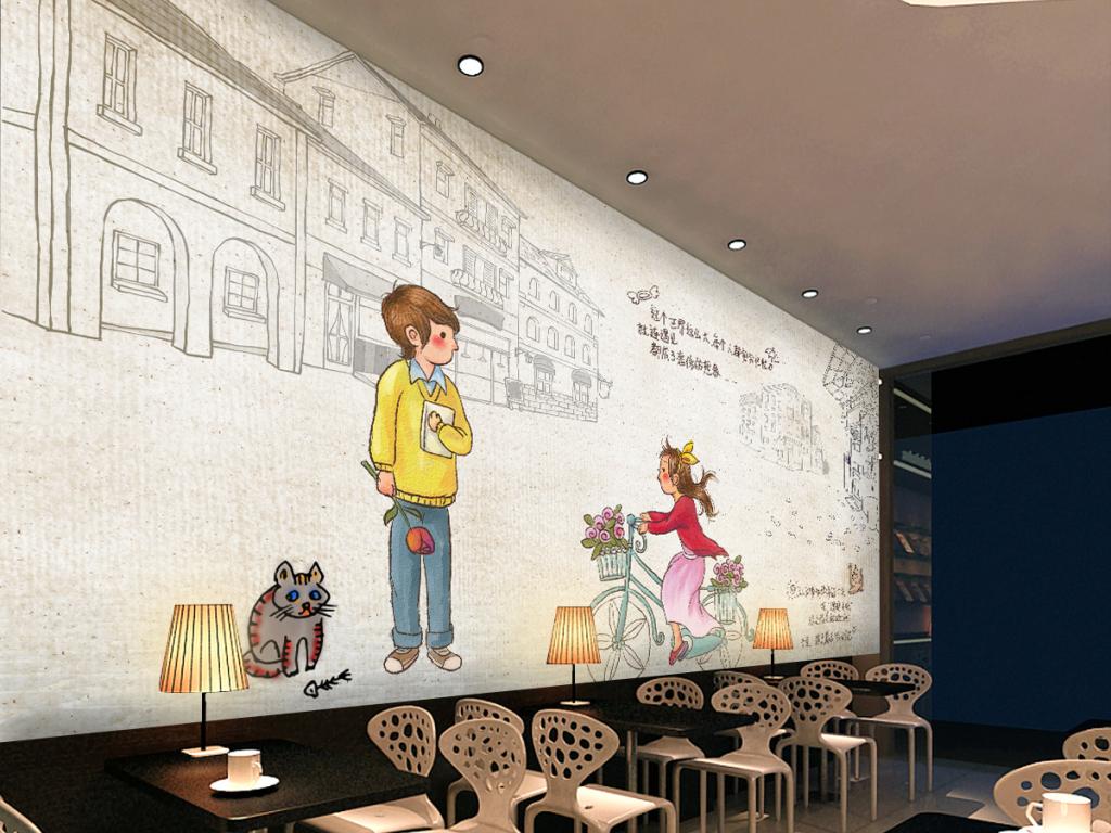 咖啡馆西餐厅酒吧ktv手绘复古工装背景墙
