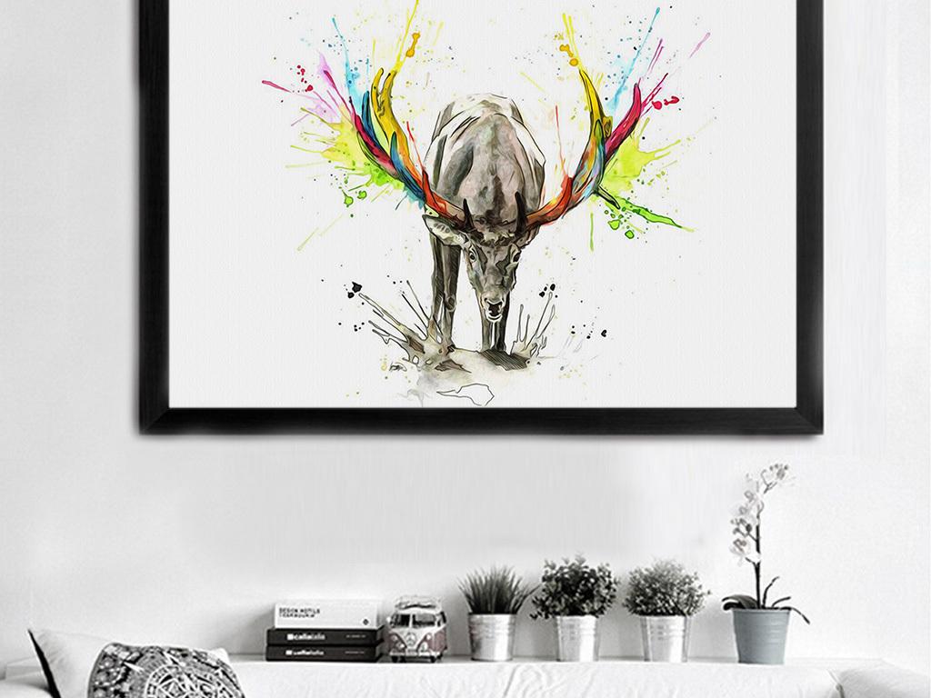 北欧简约美克美家美式水彩动物装饰画