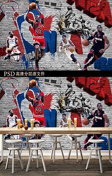 NBA球星篮球比赛背景墙装饰画