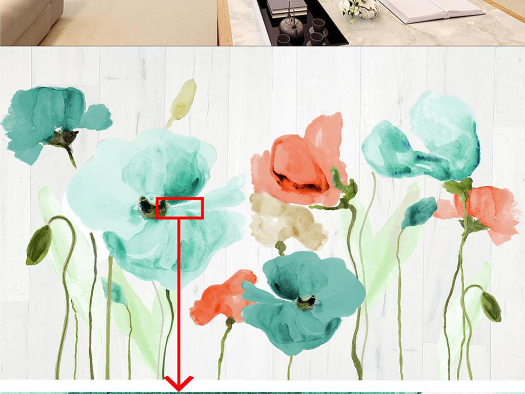 现代手绘花卉手绘电视背景墙