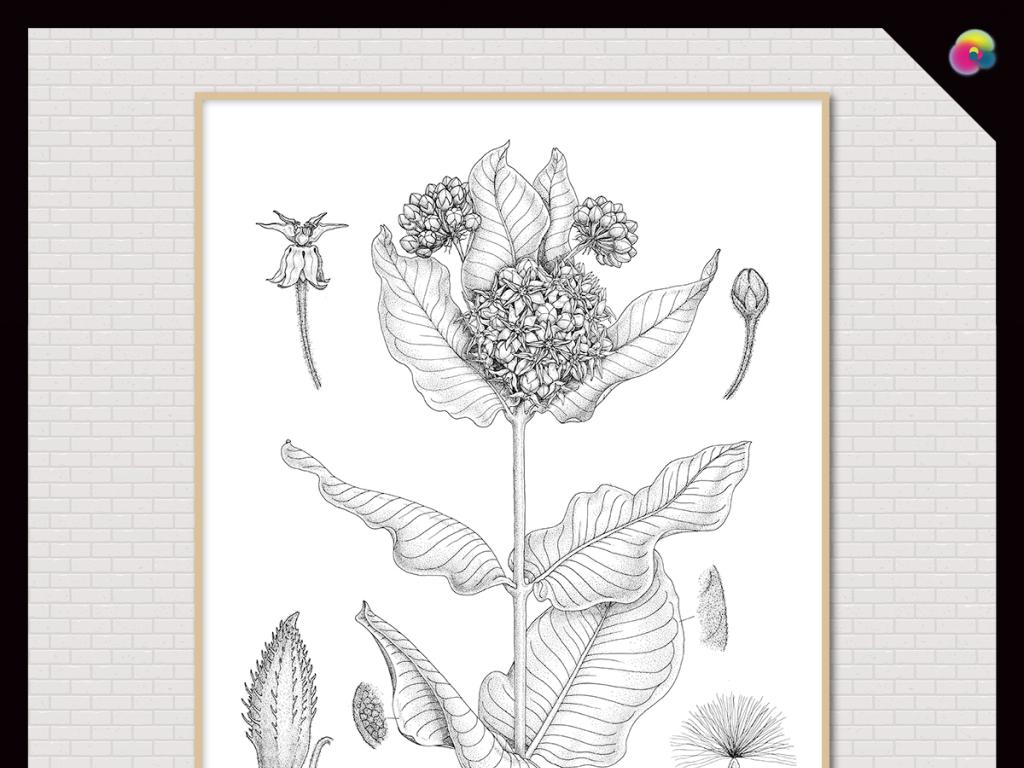 线条黑白素描叶子树叶小鹿剪影简约现代现代简约装饰