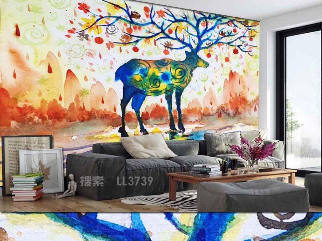 手绘风格工装背景墙北欧背景墙抽象装饰画马鹿梅花鹿北欧装饰画鹿角