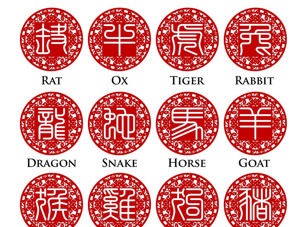 剪纸素材生肖矢量图中国风设计素材鼠牛虎兔龙蛇马羊猴鸡狗猪红包利是