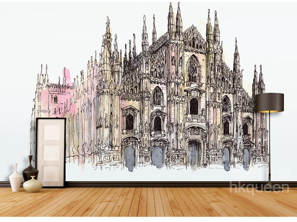 原创手绘北欧古典建筑卡通高档背景墙