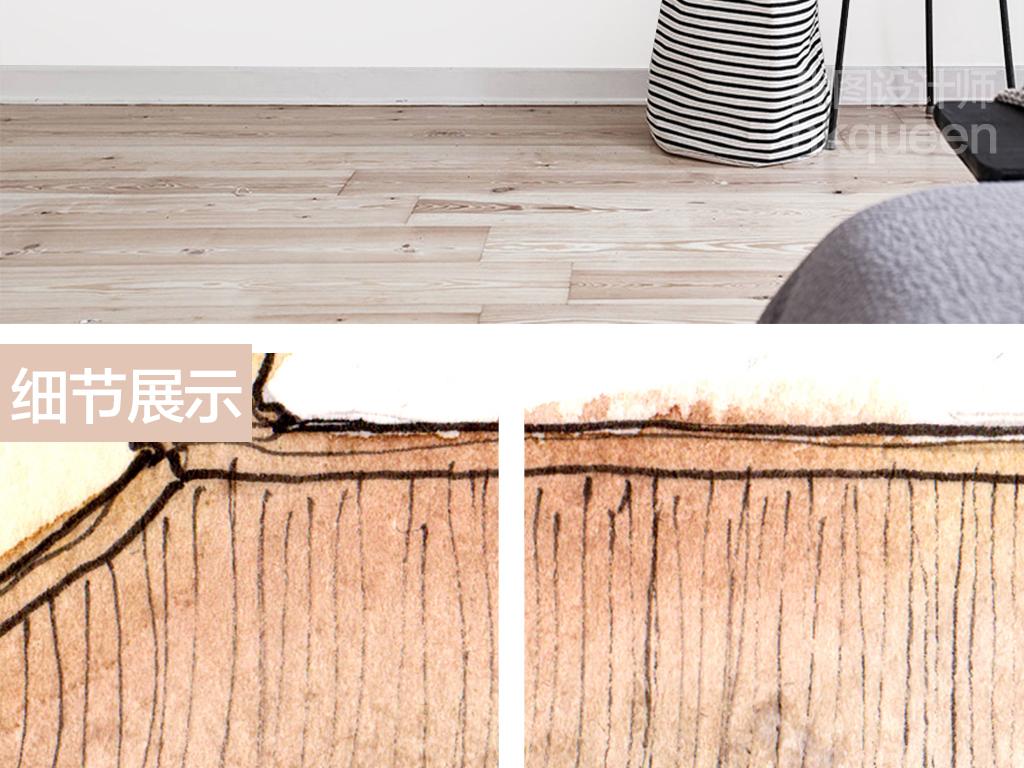 新中式古典天安门手绘建筑抽象水彩背景墙