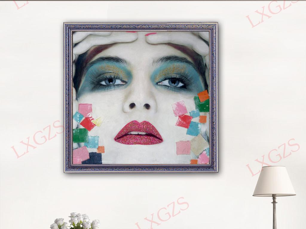超清油画手绘艳妆美女头像图片设计素材_高清模板下载