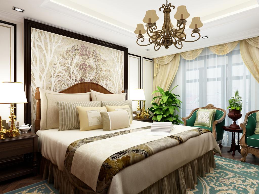 欧式简欧卧室主卧次卧360度全景图效果图