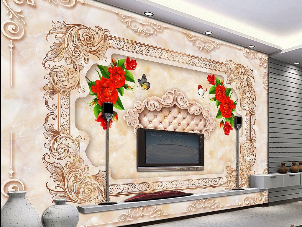 欧式花纹大理石背景墙(图片编号:15713785)