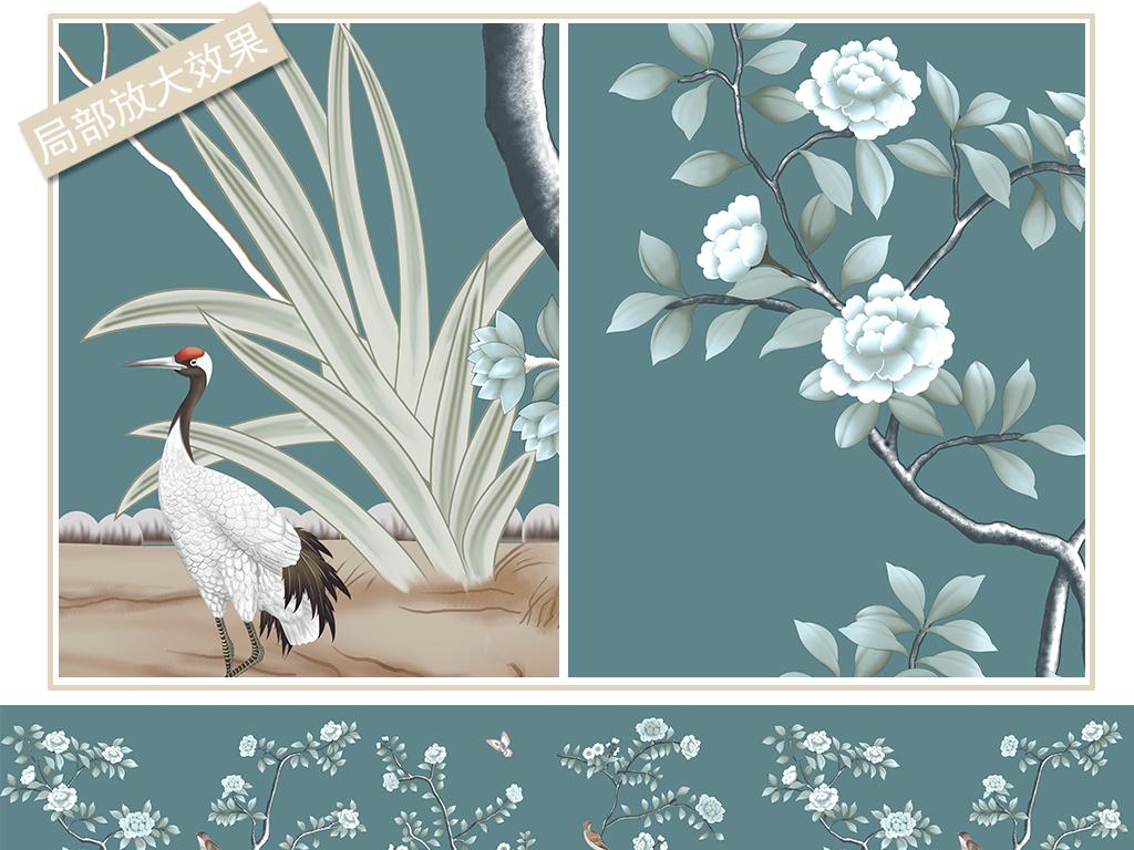 手绘工笔花鸟背景墙装饰画