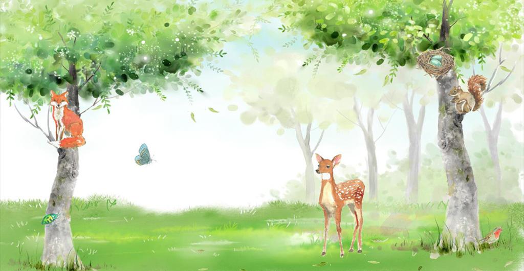 卡通手绘树林电视背景墙图片玻璃电视背景墙图片客厅电视背景墙图片3d