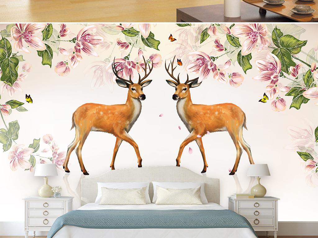 美式复古手绘水彩花卉梅花鹿客厅电视背景墙