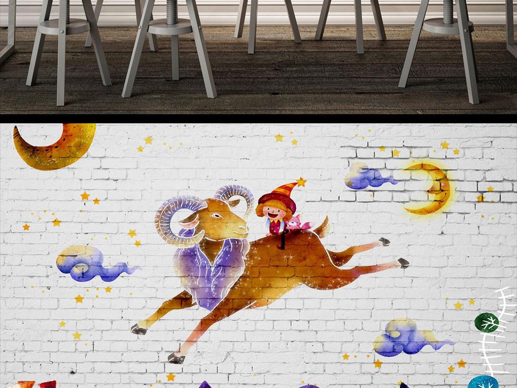复古砖墙手绘卡通插画酒吧咖啡馆甜点背景墙